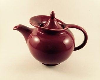 Vintage 1940's Hall Windshield Maroon Teapot