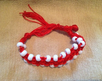 Red Double Square Knot Macrame Bracelet with White Beads & Tassel