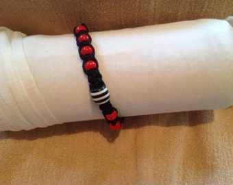 Black Square Knot Macrame Bracelet with Red Beads