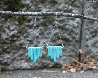 Turquoise Howlite Stone Matchstick Duster Drop Earrings