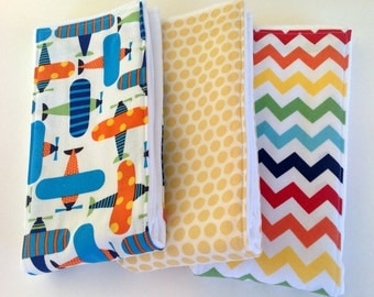 Baby Burp Cloths - Set of 3 - Up, up and Away in style!  Airplanes, chevron, and Polka Dots