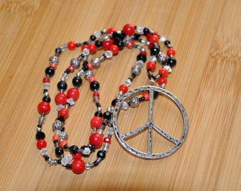 Red Peace Sign Beaded Necklace