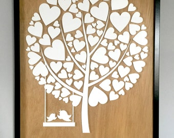 3D Acrylic Wedding Guestbook Tree Framed Artwork
