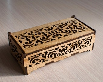 Laser cut boxes etsy for Laser cut wood box template