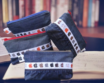 Pencil case in recycled denim