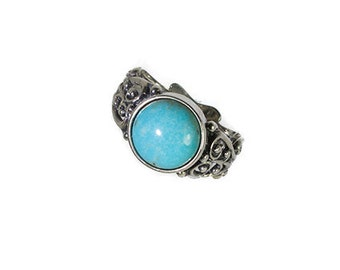 Robins Egg Blue Turquoise and Sterling Silver Filigree Ring