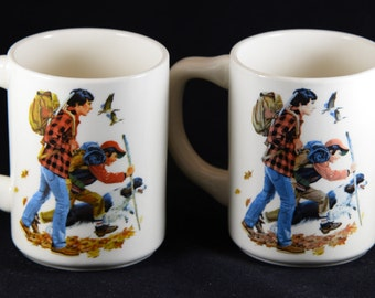 Vintage Father, Son Hunting Coffee Mugs, Collectible