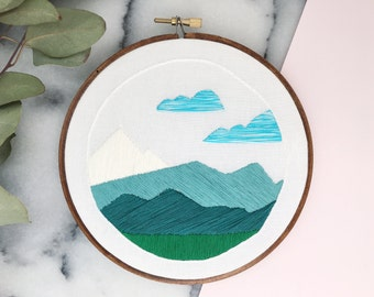 Hand Embroidered Modern Hoop Art, Mountain Scene, Ready to Ship