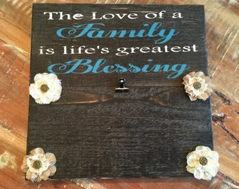 Life's Greatest Blessing is Family Picture Frame, Life's Greatest Blessing, Handmade picture frame, Rustic decor