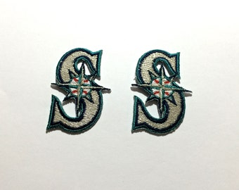 2 Seattle Mariners embroidered Iron On or sew on Patches Great for Crochet project or hats and clothing