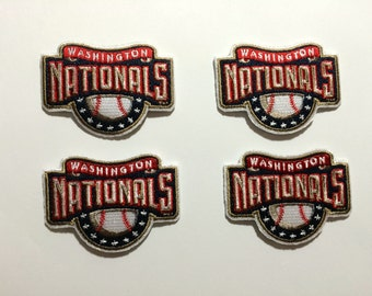 4 Washington Nationals Embroidered Iron on or Sew on patches add to crochet, hats , clothing