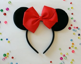 Red Bow Mouse Ears, Red Mouse Ears, Disney Mouse Ears