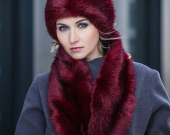 MiMi cree Red Wolf faux fur Multifunktionsschal