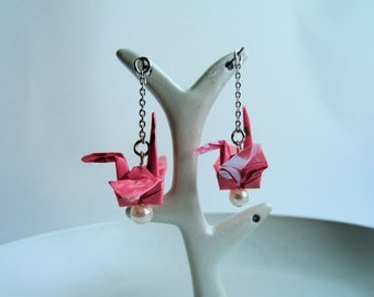 Origami Earrings, Crane Earrings, Washi-paper , Paper Cranes, Japanese Accessory,  Handmade Earrings, Beautiful Earrings