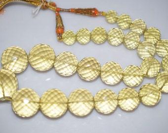 "965 Cts.Beautiful Natural Lemon Quartz Round Faceted Beads Necklace-Lemon Quartz Round Faceted Necklace,11-23 mm,16""-NL107"