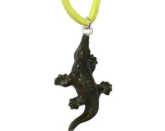 Mini ceramic crocodile necklace