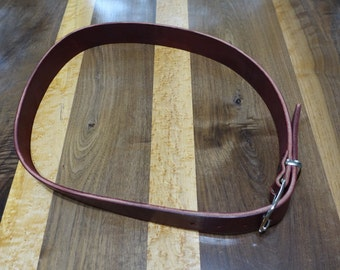 Mens burgundy leather belt - full grain oil tanned