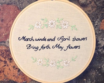 Hand Embroidered 'March Winds' Ouote