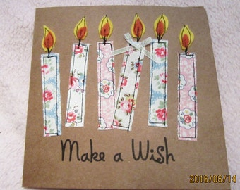 Hand made greetings birthday  card with Cath Kidston fabric candles