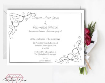 Wedding Day Invitation - Modern Wedding Invites - Printable Invitations - Digital Download File