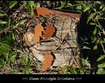 """Parure cuir véritable marron: Collier + Boucles + Bandeau . Parure """"feuillage"""""""