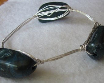 Dark Teal/Blue Beaded Wire Wrapped Bangle