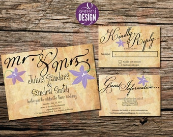 Wedding Invitation, Guest Info, and Reply Card