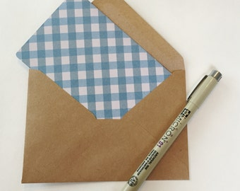 Mixed gingham print blank card stationery set - mixed set of 5 print cards -  blank cards with envelopes - blue gingham - pink gingham