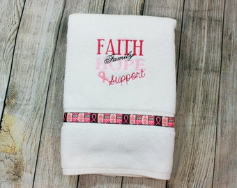 Breast Cancer Awareness-Bath Sheet-Faith-Family-Save the Ta-Ta's-Breast Cancer Ribbon-Embroidered Towel-Womens Gift