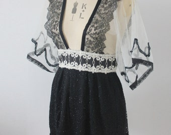 Vintage reworked black lace top/dress