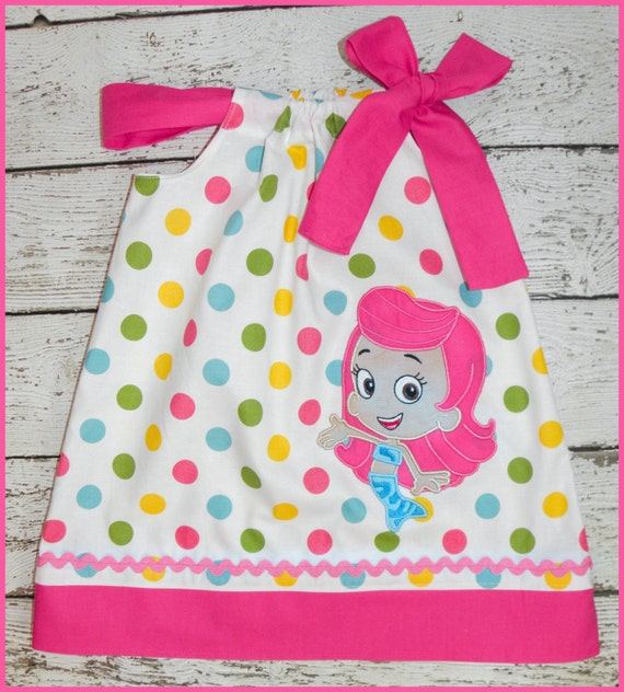 Molly Bubble Guppies Pillowcase style dress Pretty Polka dot and hot pink