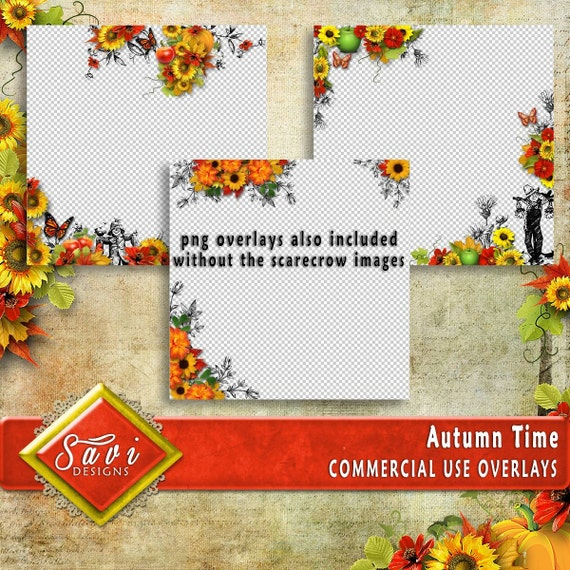 CU or PU Commercial Use PNG Overlays x 3 for Digital Scrapbooking or Craft projects Autumn Time Set 1, Designer Stock Papers