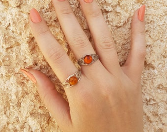 Silver gemstone ring , amber ring , silver ring