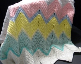 Multi-Colored Crocheted Baby Afghan