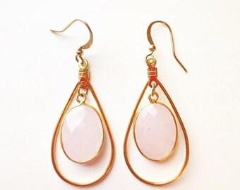 Gemme Pink Quartz Teardrop Earrings