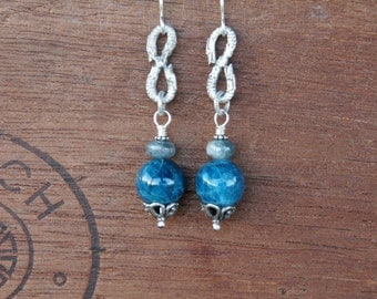 Eternity Snake Earrings with Deep Blue Kyanite and Aquamarine - Ready to Ship