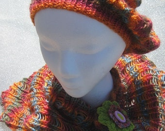 Rainbow Hanknitted Woman's Beret