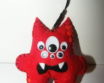 handmade red monster doll
