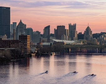 """Pittsburgh Skyline At Sunset From The 31st Street Bridge  - Fine Art Luster Print - """"Allegheny Row"""""""