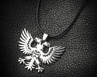 Eagle Necklace, Double Eagle Necklace, Double Eagle Head, Leather Eagle Necklace, Men's Eagle Necklace, Eagle Head Pendant Necklace Man