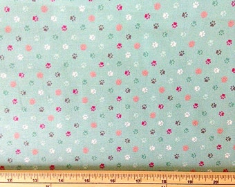 Makower 1 metre paw print fabric cats collection