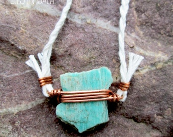 Amazonite wire wrapped necklace