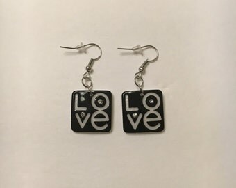 "Sparkling ""Love"" design earrings"