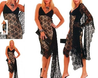 Ladies black dress and shawl made crochet / custom