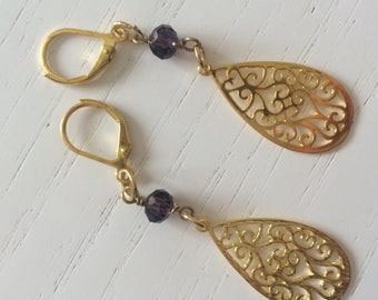 Golden filigree Teardrop Earrings