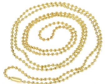 2 beads 80cm - gold chain - ball chain - ball gold metal chains