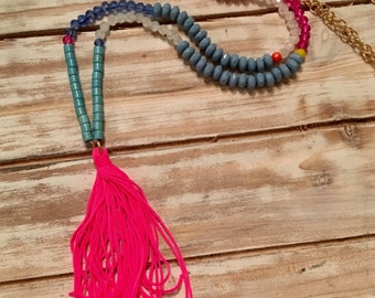 Pink and Turquoise Beaded Tassel Necklace