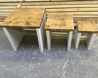 British Reclaimed Hand Made Nest of Three Tables
