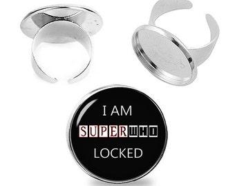 SuperWhoLocked Ring Adjustable ring  Supernatural Doctor Who Sherlock Fandom Jewelry Fanboy Fangirl