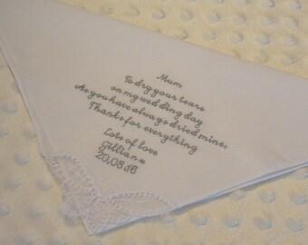 Wedding Handkerchief, Mother of the Bride Handkerchief, Personalised Embroidered Handkerchief, Wedding Hanky, Wedding hankerchief